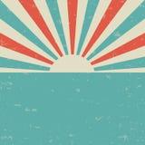 Rétro affiche grunge fanée de lumière du soleil fond d'éclat de couleur bleue et rouge illustration de vecteur