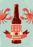 Rétro affiche grunge typographique de bière avec des homards Illustration de vecteur illustration stock