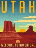Rétro affiche illustrée de voyage pour l'Utah illustration de vecteur