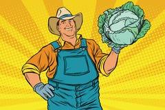 Rétro agriculteur rural et un chef de chou commun illustration libre de droits