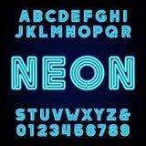 Rétro alphabet bleu de tube au néon Dactylographiez les lettres et les nombres Photo stock