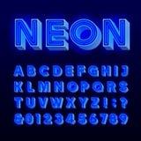 Rétro alphabet de signe lettres bleues et nombres de lampe au néon du vintage 3D Police d'enseigne Photos libres de droits