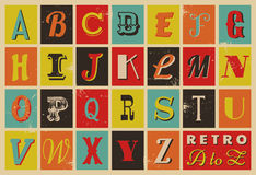Rétro alphabet de type Images stock