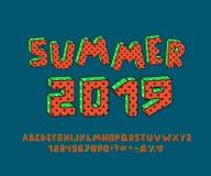 Rétro alphabet lumineux avec le modèle de point de polka Lettres de vecteur, nombres et signes de ponctuation illustration de vecteur