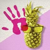 Rétro ananas de couleur avec des lunettes de soleil pour l'été Images libres de droits