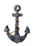Rétro ancre d'aquarelle avec la corde Roue dentée Pour la conception, les copies ou le fond Photo stock