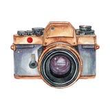 Rétro appareil-photo d'aquarelle de vintage Perfectionnez pour le logo de photographie image stock