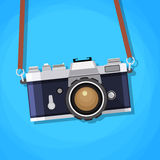 Rétro appareil-photo dans un style plat Photo libre de droits