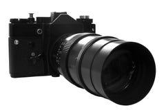 Rétro appareil-photo de SLR dans le b&w Photos stock