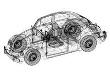 Rétro architecte Blueprint de concept de voiture - d'isolement illustration stock