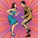 Rétro art de bruit de danse d'homme et de femme illustration stock