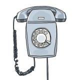 Rétro aspiration industrielle de main de téléphone de vintage gris de tenture Photo stock