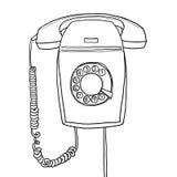 Rétro aspiration industrielle de main de téléphone de vintage gris de tenture Photos libres de droits