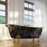 Rétro baignoire de luxe dans version d'intérieur moderne de chambre la 2d Photographie stock libre de droits