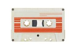 Rétro bande blanche de cassette sonore d'isolement sur le fond blanc photos stock