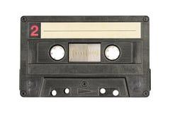 Rétro bande noire de cassette sonore d'isolement sur le fond blanc image stock