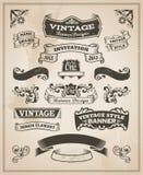 Rétro bannière de vintage et ensemble de ruban Images stock