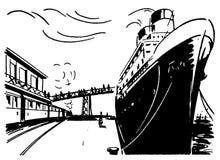 Rétro bateau 01 illustration de vecteur