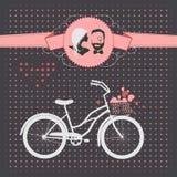 Rétro bicyclette Carte de mariage Photographie stock libre de droits
