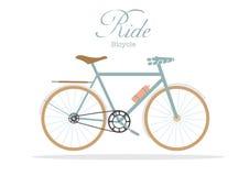 Rétro bicyclette sur les milieux blancs, illustrations de vecteur Images libres de droits