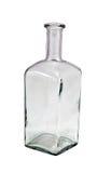 Rétro blanc d'isolement par bouteille vide de coin carré Photos stock