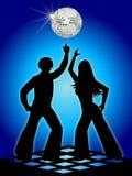 Rétro bleu de danseurs de disco/ENV illustration stock