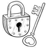 Rétro blocage et clé Photographie stock libre de droits