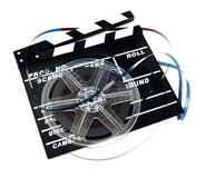 Rétro bobine de film avec le ciak Images libres de droits