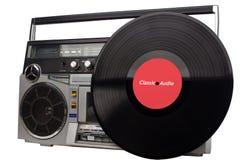 Rétro boombox et vinyle Rétro sableuse de ghetto et vinyle - cru photos libres de droits