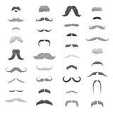 Rétro bouclé de moustache énorme de collection, ensemble de moustache Cheveux différents de moustache de couleurs et de formes de Photos stock