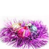 Rétro boule de Noël trois dans le nid de la tresse Photos libres de droits