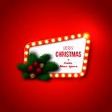 Rétro cadre de Noël avec les lumières rougeoyantes réalistes, branche de pin Images stock