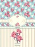 Rétro cadre floral avec le modèle sans couture sur le bleu Photos stock