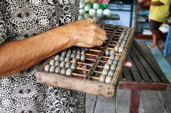 Rétro calculatrice chinoise Boulier chinois Photos stock