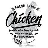 Rétro calibre dénommé de conception et texte calligraphique avec graver l'art de poulet illustration libre de droits
