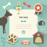 Rétro calibre de chien avec plein canin de profil, illustration de vecteur