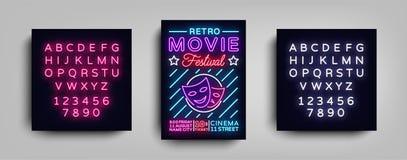 Rétro calibre de néon de conception de typographie de carte postale de festival de film Néon de style de brochure, enseigne au né illustration stock