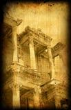 Rétro carte avec la construction de la Grèce, Ephesus Photos stock
