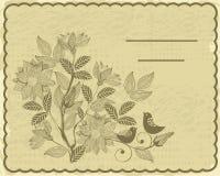 Rétro carte avec la fleur et les oiseaux dans le vecteur Image stock