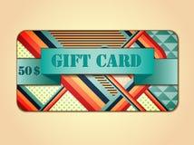 Rétro carte cadeaux d'abrégé sur montant Images stock