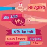 Rétro carte d'invitation de mariage Image libre de droits