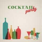 Rétro carte d'invitation de partie de Coctail Photo stock