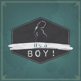 Rétro carte de bébé - sa un thème de garçon Photographie stock