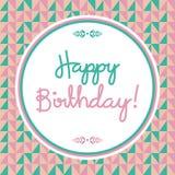 Rétro carte de joyeux anniversaire Photo libre de droits