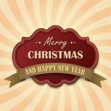 Rétro carte de Noël de vintage rouge Images libres de droits