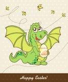 Rétro carte de Pâques avec le dragon Photos libres de droits