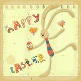 Rétro carte de Pâques avec le lapin Photographie stock