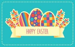 Rétro carte de vecteur heureux de Pâques ou calibre de bannière illustration libre de droits