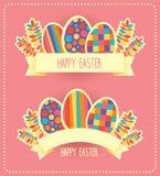 Rétro carte de vecteur heureux de Pâques ou calibre de bannière Images libres de droits