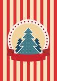 Rétro carte de voeux avec l'arbre de Noël Photo stock